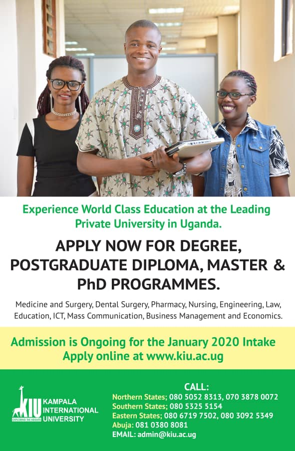 Here's an Opportunity to Join the January & April 2020 Intakes at Kampala International University (KIU)