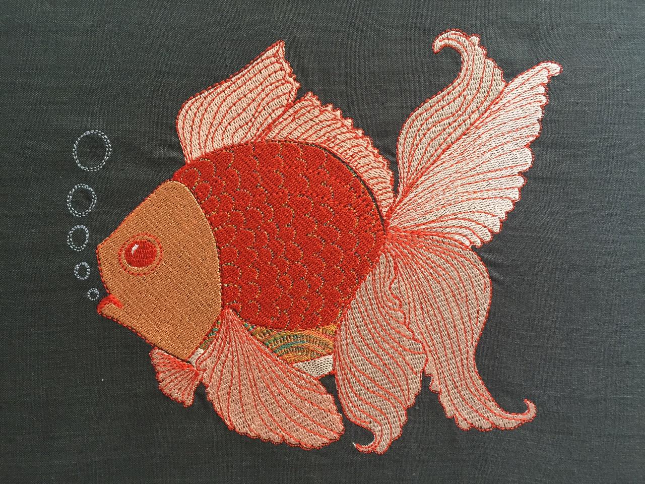 machine embroidery angel fish