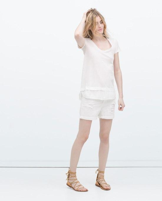 t-shirt bianca zara