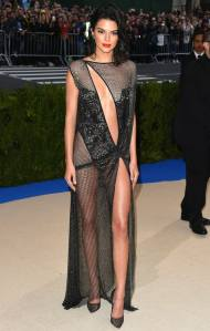 Kendall Jenner in La Perla Haute Couture and Christian Louboutin heels.