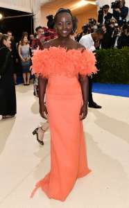 Lupita Nyong'o in Prada and Tiffany & Co. jewelry.