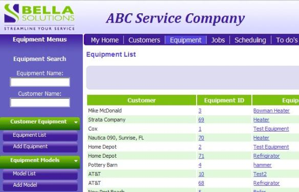 Equipment Service Software