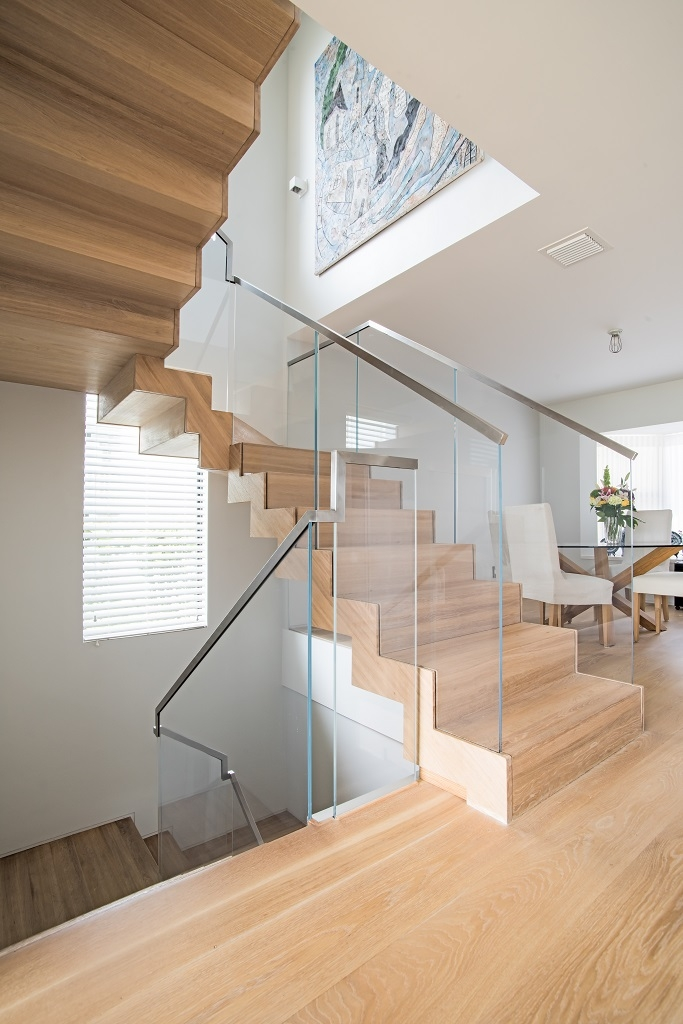 Floating Staircase Glass Railings In Juno Beach Bella Stairs   White And Glass Staircase   Step   Before And After   Handrail   Stained   Oak