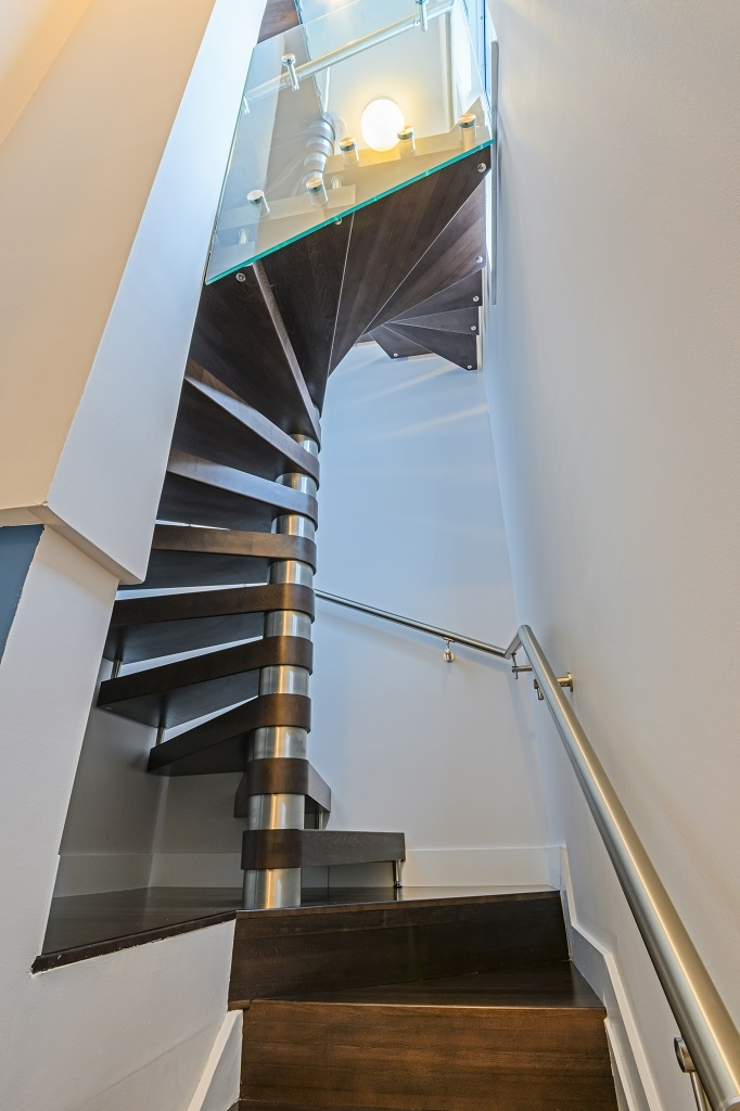 Modern Residential Staircase Bella Stairs   Spiral Staircase With Glass Railing   Metal   Residential   In India Staircase   Contemporary Glass   Thin Glass