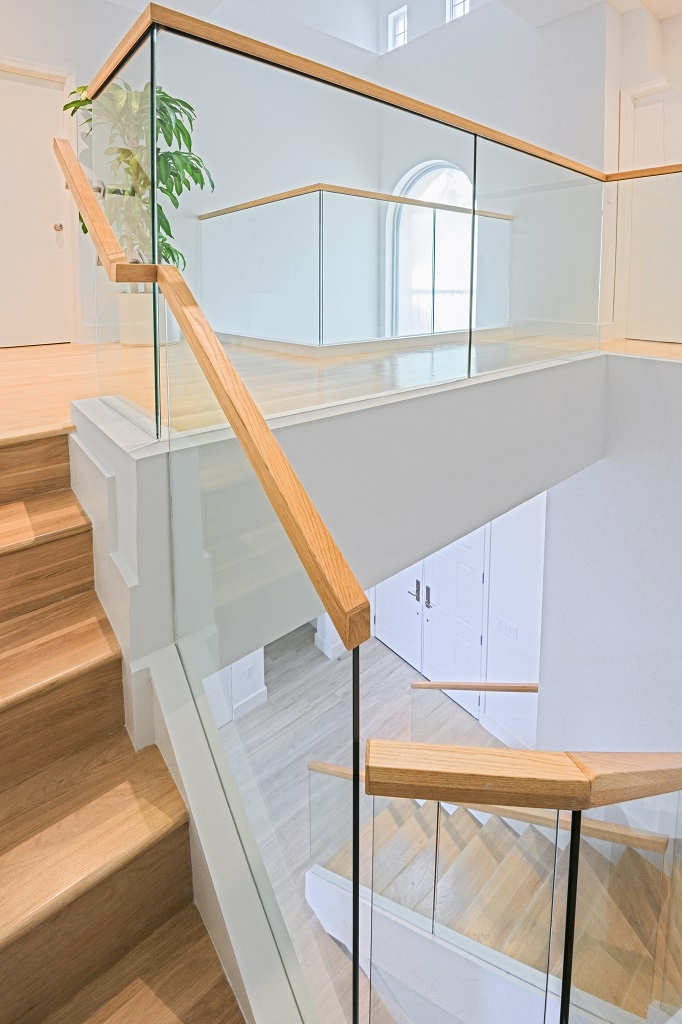 Glass Railings Wooden Cap Rails Bella Stairs   Staircase Railing Designs In Wood And Glass   Frosted Glass   Low Cost   Stair Handrail   Wooden   Solid Wood