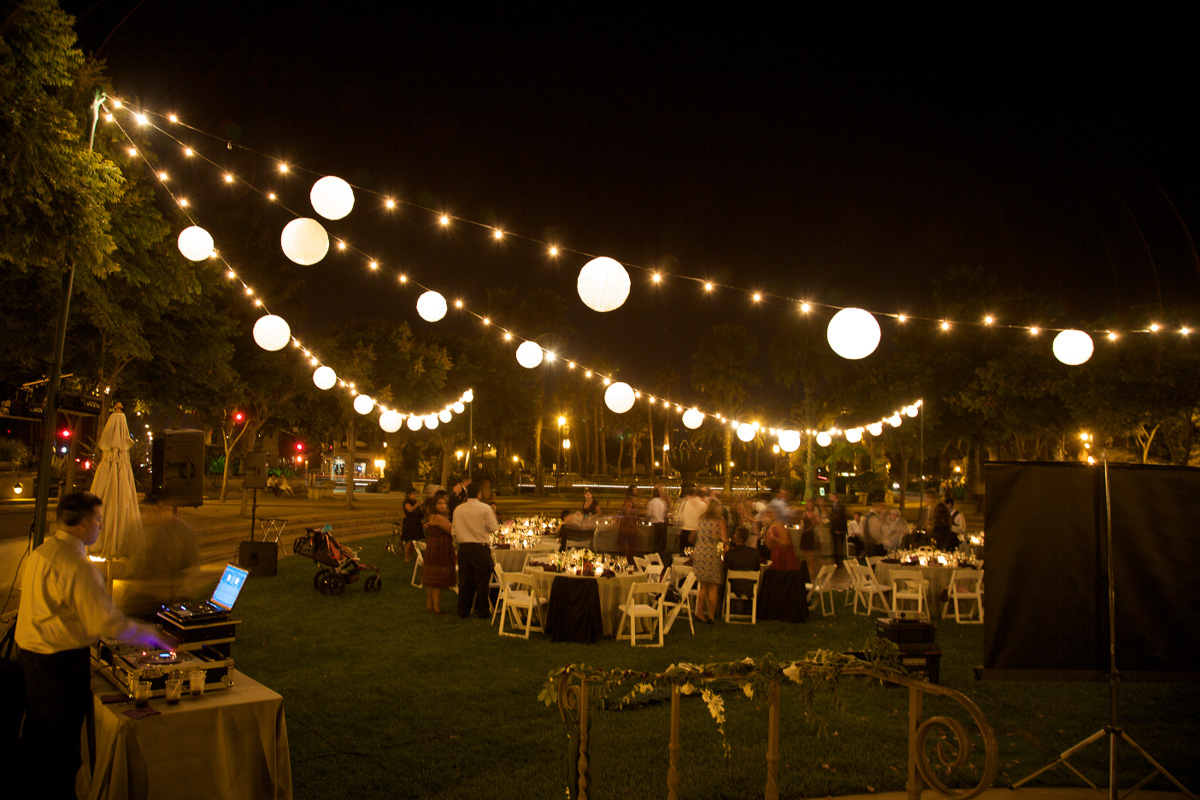 Chase Palm Park String Lighting With Paper Lanterns