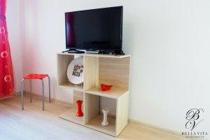 Голям телевизор и дървена секция в апартамент под наем Благоевград мила