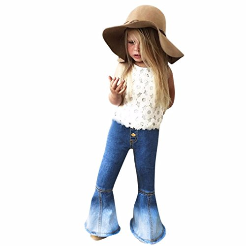 Fashion Children Infant Kid Girls Vintage Jeans Flare Denim Pants Long Trousers