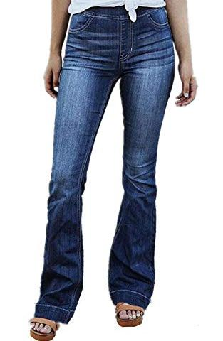 8fadf864d4 GALMINT Women's Juniors Retro Bell Bottom Wide LGE High Waisted Slim Fit  Stretch Flared Denim Jeans Pants