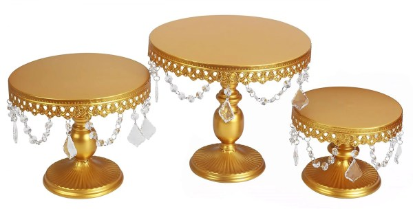 3-Set Antique Cake Stand Round Cupcake Stands Metal Dessert Display with Pendants and Beads, Gold