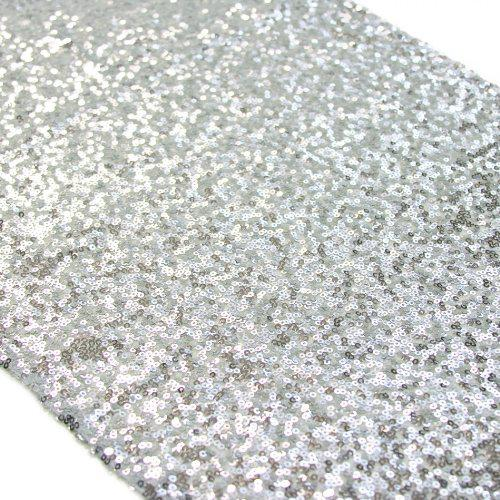 Sequin Table Runner, 12 by 108-Inch, Silver