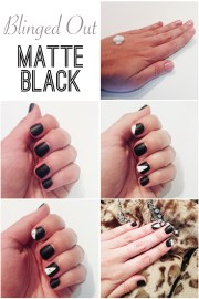 blinged matte black nails