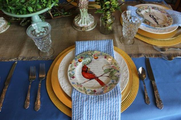 Belle Bleu Interiors Bird Tablescape 5