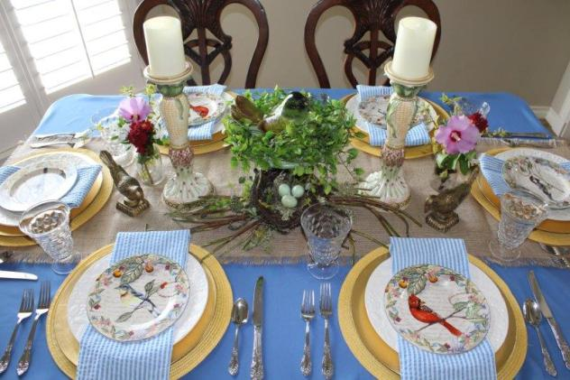 Belle Bleu Interiors Bird Tablescape 6
