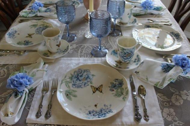 Belle Bleu Interiors Blue Butterfly Meadow Tablescape 4