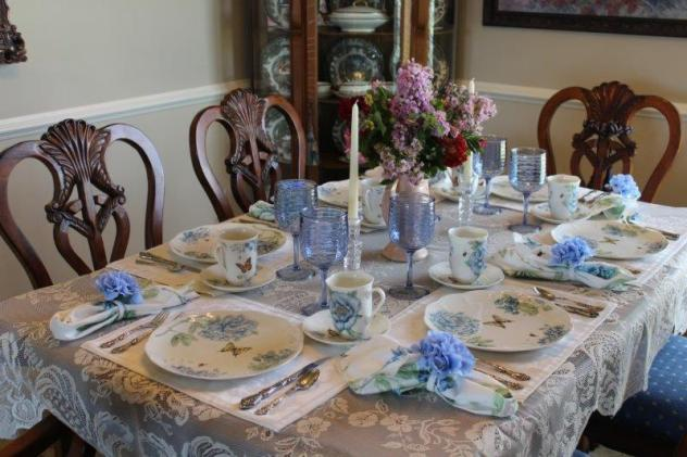 Belle Bleu Interiors Blue Butterfly Meadow Tablescape