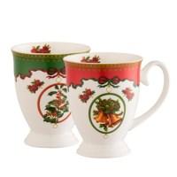 Aynsley Christmas Footed Mugs Set | Belleek.com