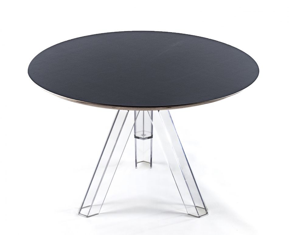 table ronde transparente polycarbonate design ometto plateau noir diametre 107