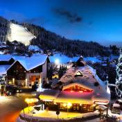 View from balcony on ski slopes at night - les Carroz