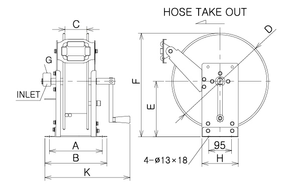 Hand Cranked Hose Reel ~ Manual rewind :: Up to 30m hose