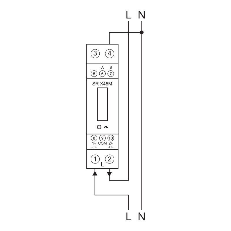 single phase kwh meter wiring diagram starter relay smartrail x45m-mid :: | din rail mount