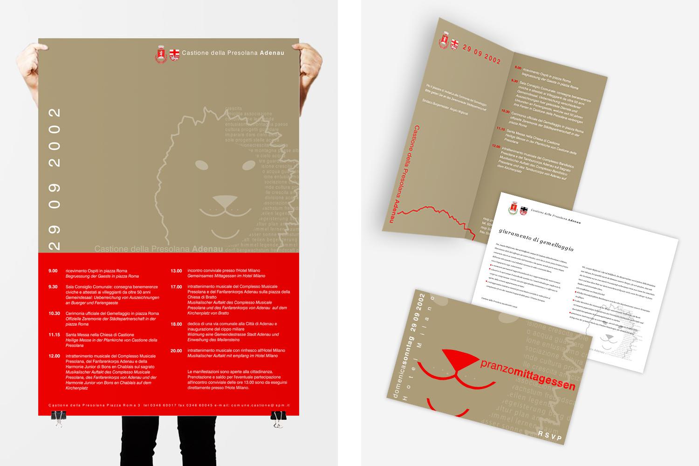 poster e flyer per Comune di Castione della Presolana: progetto di comunicazione per le iniziative legate al gemellaggio tra Comuni