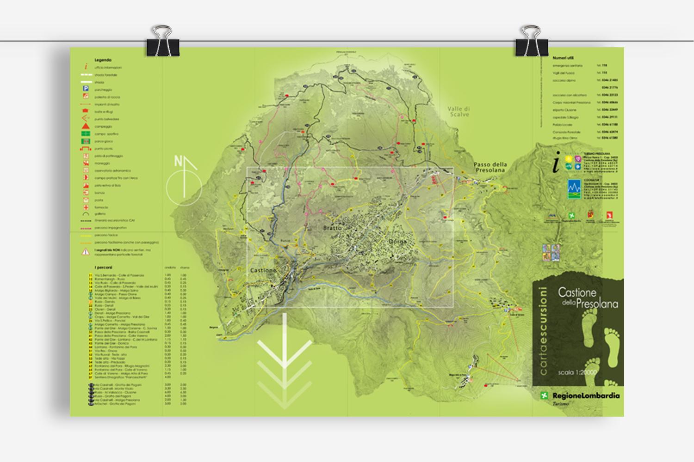 poster e flyer per Turismo Presolana: progetto di comunicazione per la realizzazione della cartina turistica escursioni