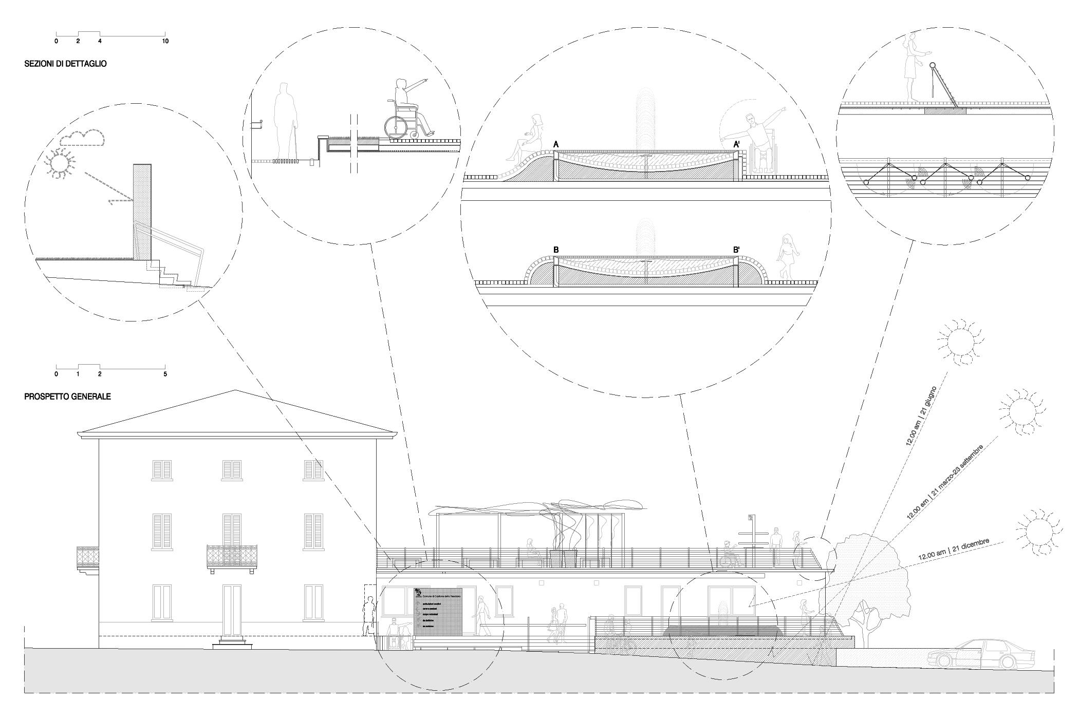 due terrazze: progetto urbano e di design per la realizzazione degli spazi esterni del Centro Sociale Adamo Besozzi a Castione della Presolana