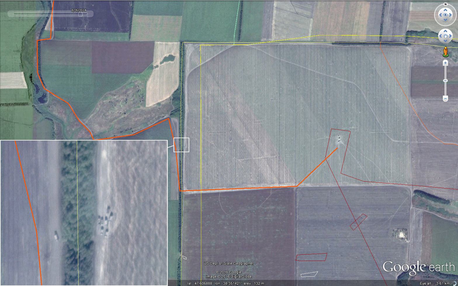 The orange line marks cross-border vehicle path. The yellow line marks the Russia-Ukraine border, according to Google Earth. The line along the treeline is the more accurate representation of the border.