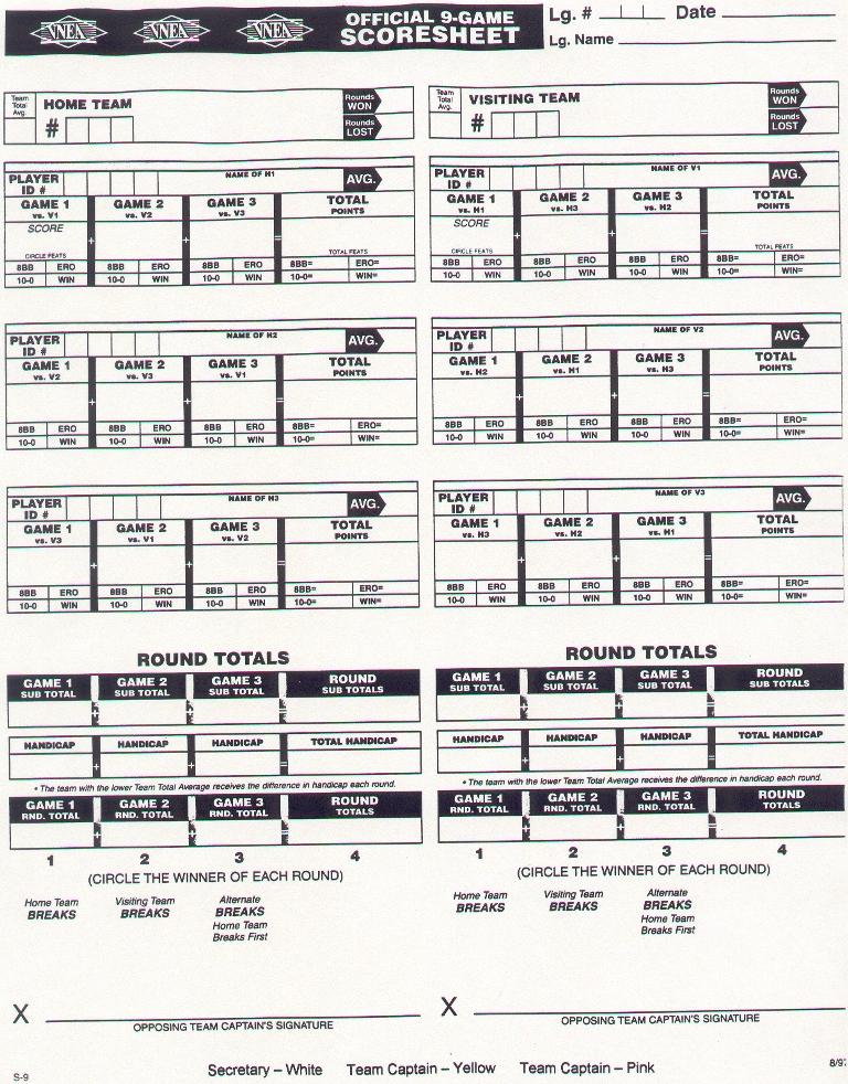 Bca Pool League Score Sheets