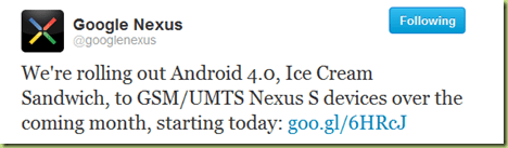 aggiornamento Android 4.0.3 Sandwich Ice Cream Nexus S