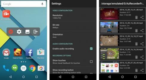 Applicazione per registrare lo schermo android