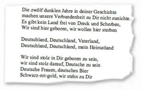 Insem Liedtext Finden Sich Wesentliche Elemente Extrem Rechten Denkens Ein Nationalistisches Bekenntnis Und Eine Relativierung Des Nationalsozialismus