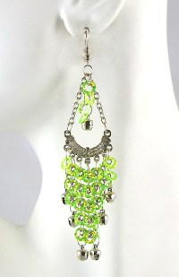 Sequin Chandelier Earrings with Bells - LIME / SILVER