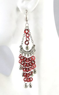 Sparkling Sequin Belly Dance Earrings with Bells - RED ...