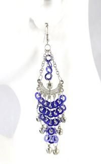 Sequin Chandelier Earrings with Bells - SAPPHIRE BLUE / SILVER