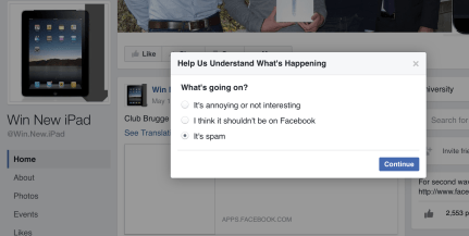 A screen grab of the report box on Facebook to report a scam