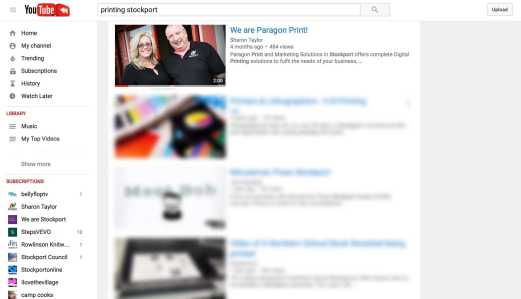 Search results page on YouTube