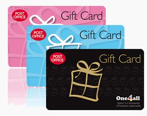 Three Post Office 'One4All' Gift Cards in a line.