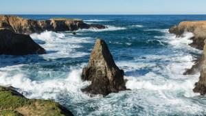 Rocky Pacific Coast near Mendocino, California - Source: Schwartz, Jeffrey. Rocky Pacific Coast Near Mendocino, California. Digital Image. Shutterstock, [Date Published Unknown]