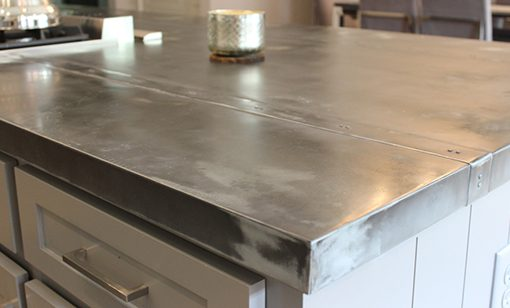 distressed kitchen island farmhouse islands the versatility and durability of zinc sheets for ...