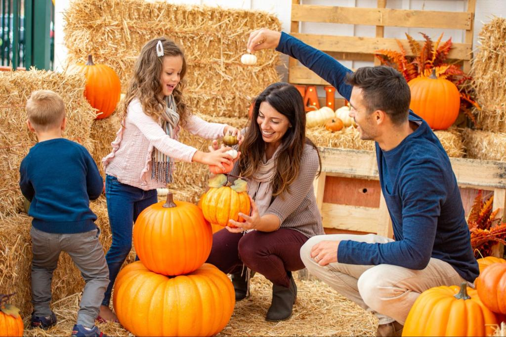 parents at pumpkin patch with kid