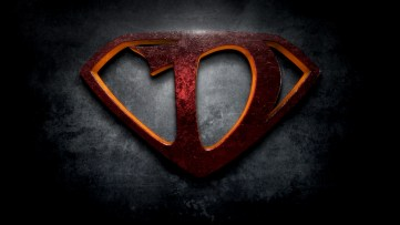 "The letter D in the style of ""Man of Steel"""