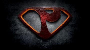 "The letter P in the style of ""Man of Steel"""