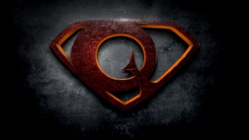 """The letter Q in the style of """"Man of Steel"""""""