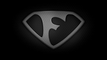 """The letter F in the style of """"Man of Steel"""" - black and white texture version"""