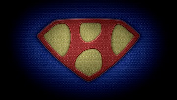 "The letter H in the style of ""Man of Steel"" - color texture version"