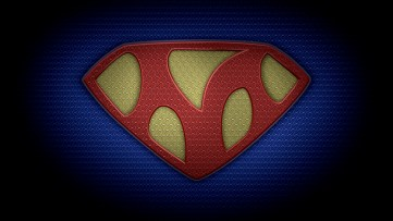 """The letter M in the style of """"Man of Steel"""" - color texture version"""