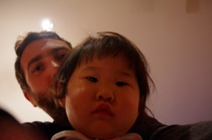 Teaching Penelope how to use the camera by taking a picture of ourselves.
