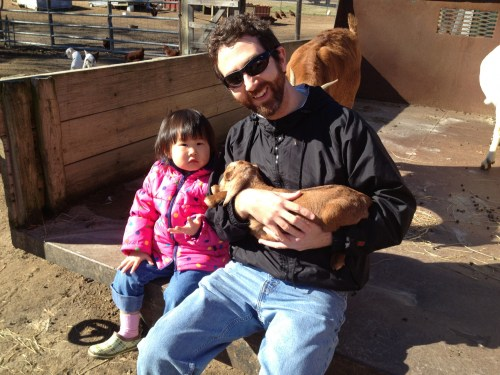 Penelope and I at Bray Family Farm admiring their news kids.